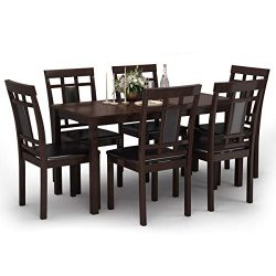 Giantex 7-Piece Kitchen Table Set, Dining Table with 6 Chairs, Modern Oak Wood Comfortable w/PU  ...
