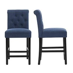 LSSBOUGHT 24 Inches Stylish Fabric Counter Height Stools with Solid Wood Legs, Set of 2 (Blue)
