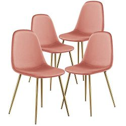 Kealive Dining Chair for Kitchen Dining Room Set of 4 Mid Century Modern Side Chairs with Golden ...