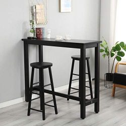 G-house 3-Piece Pub Table Set, Counter Height Dining Table Set with 2 Bar Stools for Kitchen, Br ...