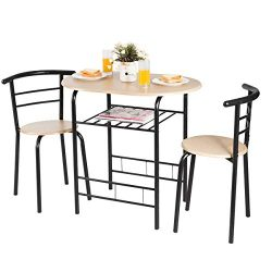 Giantex 3 Piece Dining Set Compact 2 Chairs and Table Set with Metal Frame and Shelf Storage Bis ...