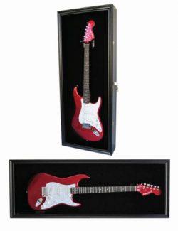 Electric Guitar Display Case Cabinet Shadow Box with Hanger, Lockable UV Protection Door (Black  ...