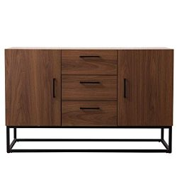 CANMOV Modern Sideboard Storage Cabinet,Buffet Table Kitchen Storage with Three Storage Drawers ...