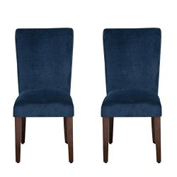 HomePop Parsons Classic Upholstered Accent Dining Chair, Set of 2, Navy Velvet
