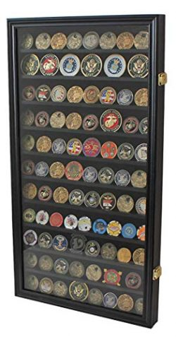 Large Challenge Coin/Casino Chip Display Case Holder Rack Cabinet, Glass Door-Black Finish (COIN ...