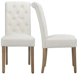 Yaheetech Solid Wood Dining Chairs Button Tufted Parsons Diner Chair Upholstered Fabric Dining R ...