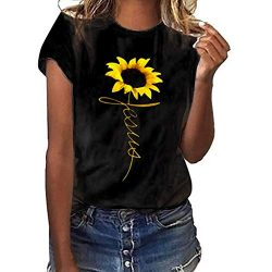 Women T-Shirt Casual Summer Short Sleeve Tee Sunflower Print Loose Fit Blouse Tops (S, Black 2)