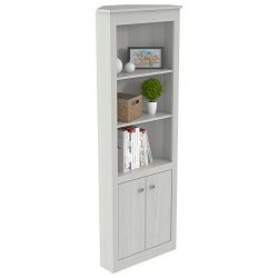 Inval Two Door Corner Bookshelf, Washed Oak