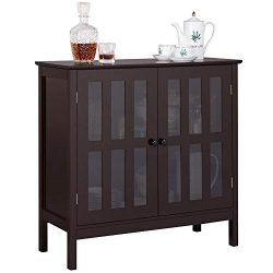 Yaheetech Storage Sideboard Buffet, Wooden Storage Cabinet Cupboard with Glass Door for Home Kit ...