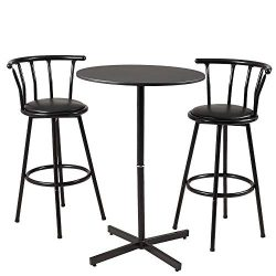 AMERLIFE Bar Table Set 3 Piece with 2 Crown Back Bar Stools Bistro Pub Circular Table and Chairs ...