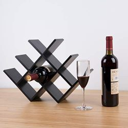 BAMBKIN 8-Bottle Bamboo Wine Rack Bottle Holder Countertop Removable Minimal Assembly Required ( ...