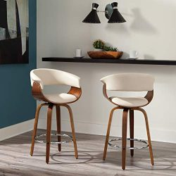 OFM 161 Collection Mid Century Modern 26″ Low Back Bentwood Frame Swivel Seat Stool, Vinyl ...