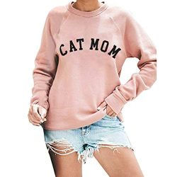 TWGONE Fall Sweatshirts for Women with Sayings Crewneck Long Sleeve Letter Print Cat Mom Shirt C ...