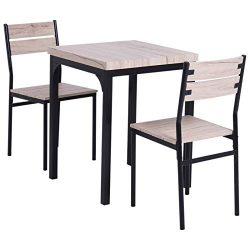 HOMCOM Rustic Country Wood Top 3 Piece Kitchen Table Dining Set w/Chairs
