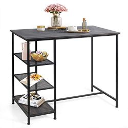 COSTWAY Dining Table, Modern Table with 3 Open Storage Shelves, Metal Frame, Counter Height Dini ...