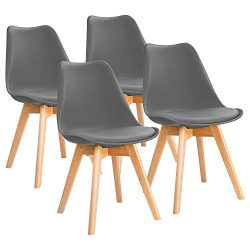Furniwell Dining Chairs Mid Century Modern DSW Chair Upholstered Side Kitchen Chairs with Wood L ...