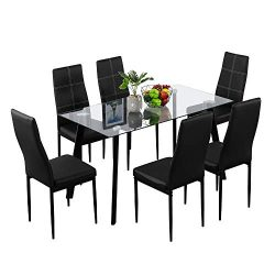 Bonnlo Dining Table with Chairs 7-Piece Kitchen Dining Set Glass Dining Table Set with Upholster ...