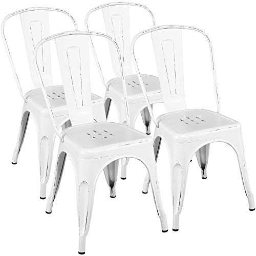 Yaheetech Metal Dining Chairs Indoor/Outdoor Coffee Kitchen Chairs Stackable Chic Dining Bistro  ...