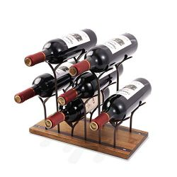 STONE Countertop Bottle Rack, Tabletop Wood Bottle Holder, Perfect for Home Decor & Kitchen  ...