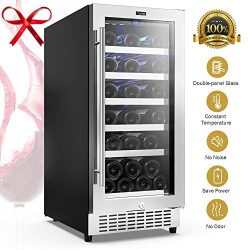Colzer 15″ Wine Cooler 30-Bottle Wine Fridge Wine Coolers Refrigerators Built-in Under Cou ...