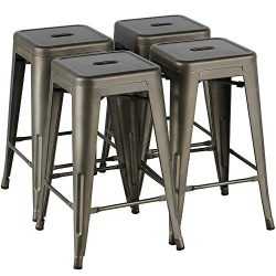 Yaheetech 24 Inches Metal Bar Stools Kitchen Counter Height Bar Stools Indoor/Outdoor Stool Pati ...