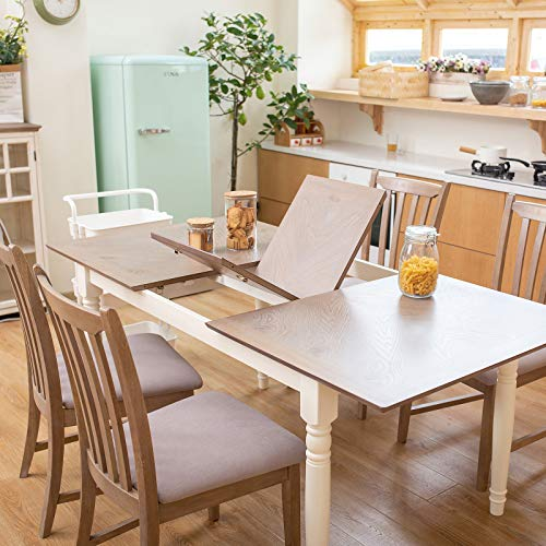 Furgle 5 Piece Furniture Kitchen Set Rectangular Extendable Oak Solid Wood Dining Table with 4 C ...