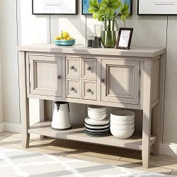 Romatlink Solid Wood Retro Style Sideboard Buffet Table with Locker and Kitchen Table, Rustic Co ...