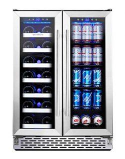 Phiestina Wine and Beverage Refrigerator   24 Inch Built-In Dual Zone Wine Beer Cooler Refrigera ...