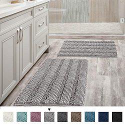Non Slip Thick Shaggy Chenille Bathroom Rugs Soft Bath Mats for Bathroom Extra Absorbent Floor M ...