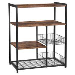 VASAGLE ALINRU Kitchen Baker's Rack, Industrial Kitchen Shelf with 2 Mesh Baskets and 6 Ho ...