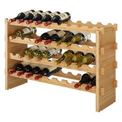 HOMECHO 36-Bottle Stackable Wine Storage Rack Countertop, Wine Bottle Display Rack Shelf Free St ...