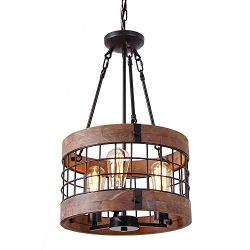 Anmytek Round Wooden Chandelier Metal Pendant Three Lights Decorative Lighting Fixture Retro Rus ...
