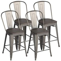Yaheetech Metal Dining Chairs Stackable Industrial Dining Room Kitchen Chair with Wood Top/Seat  ...