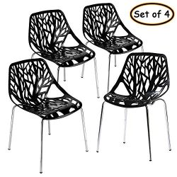 Bonnlo Modern Stackable Chair Set of 4 Kitchen Black Dining Chair Birch Sapling Comfy Chairs for ...