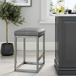 Nathan James Nelson Bar Stool with Leather Cushion and Metal Base, 24″, Gray/Stainless Steel