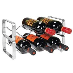 mDesign Metal Steel Free-Standing 6 Bottle Modular Wine Rack Storage Organizer for Kitchen Count ...