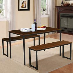LENTIA 3 Pieces Dining Table Sets with 2 Benches Vintage Wood Table Top Sturdy Metal Frame Home  ...
