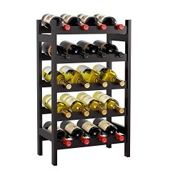 HOMECHO Bamboo Wine Rack with 5-Tier Storage Shelf 20 Bottles Display Stand Shelves Free Standin ...