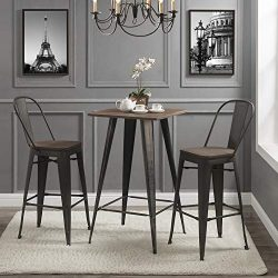 Rustic Wood Pub Vintage Metal Height Bar Stool with Back Desk Set 3 Pieces Bistro Table and Chai ...