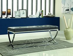 Man-Made Leather Bench with Metal Base Black and Chrome