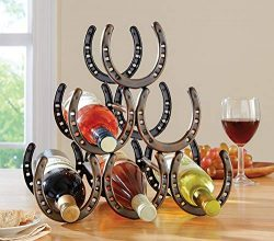 Wecharger Attractive Rustic Brown Table Top Horse Shoe Wine Rack,Convenient, Stylish, Sturdy Con ...