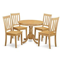 ANTI5-OAK-W 5 Pc small Kitchen Table and Chairs set-breakfast nook and 4 Kitchen Chairs