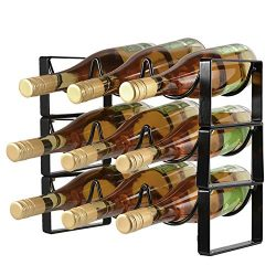 POPKU 9-Bottles Wine Rack 3 Tier Stackable Countertop Cabinet Wine Holder Storage Stand –  ...