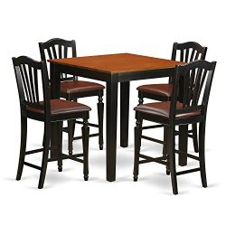 PBCH5-BLK-LC 5 Pc counter height Kitchen table set – Kitchen dinette Table and 4 Kitchen D ...