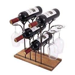Countertop Wine Rack, Tabletop Wood Wine Holder, Perfect For Home Decor & Kitchen Storage Ra ...