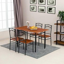 mecor 5 Piece Dining Table Set, Vintage Wood Tabletop Kitchen Table w/ 4 Chairs with Metal Frame ...