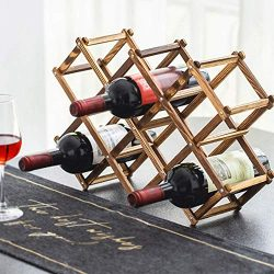 Foldable Wood Wine Rack Holder Storage Display Table Free Standing Rustic Wooden Racks Counterto ...