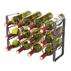 YCOCO 3 Tier Stackable Wine Rack,Countertop Cabinet Wine Holder Storage Stand – Hold 12 Bo ...
