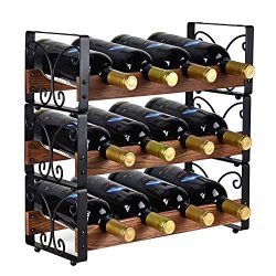 X-cosrack Rustic 3 Tier Stackable Wine Rack Freestanding 12 Bottles Organizer Holder Stand Count ...