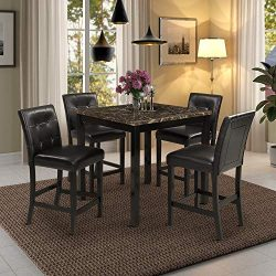 5-Piece Kitchen Table Set Brown Faux Marble Top Counter Height Dining Table Set with 4 Black Lea ...